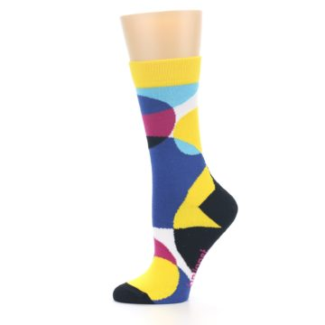 Image of Multi-Color Overlapping Circles Women's Dress Socks (side-2-11)