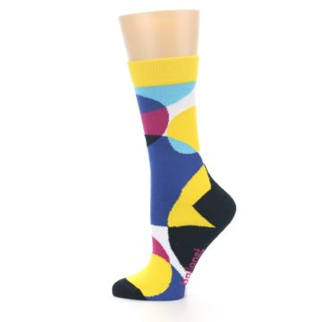 Image of Multi-Color Overlapping Circles Women's Dress Socks (side-2-12)