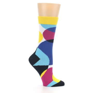 Image of Multi-Color Overlapping Circles Women's Dress Socks (side-1-25)