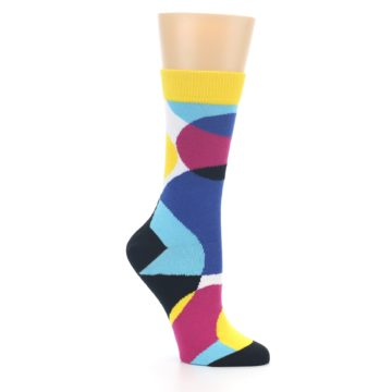 Image of Multi-Color Overlapping Circles Women's Dress Socks (side-1-26)