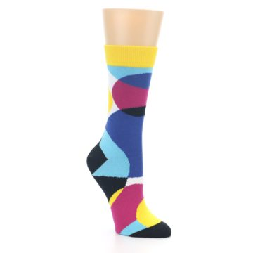 Image of Multi-Color Overlapping Circles Women's Dress Socks (side-1-27)
