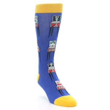Image of Blue Pinball Machine Men's Dress Socks (side-1-front-02)
