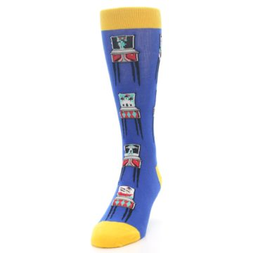 Image of Blue Pinball Machine Men's Dress Socks (side-2-front-06)
