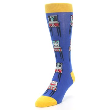 Image of Blue Pinball Machine Men's Dress Socks (side-2-front-07)