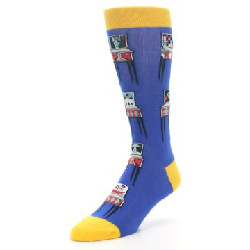 Image of Blue Pinball Machine Men's Dress Socks (side-2-front-08)