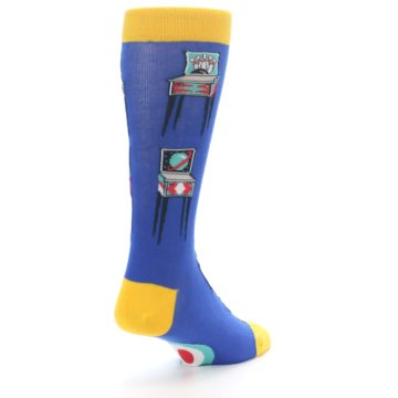 Image of Blue Pinball Machine Men's Dress Socks (side-1-back-21)