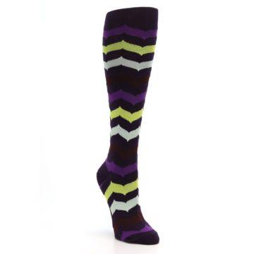Image of Purples Chevron Women's Knee High Socks (side-1-front-02)