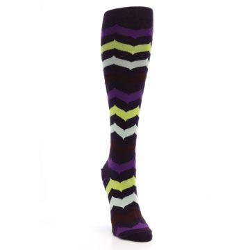 Image of Purples Chevron Women's Knee High Socks (side-1-front-03)