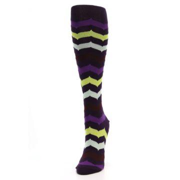 Image of Purples Chevron Women's Knee High Socks (side-2-front-07)