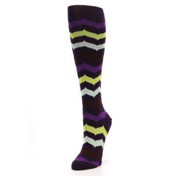 Image of Purples Chevron Women's Knee High Socks (side-2-front-08)