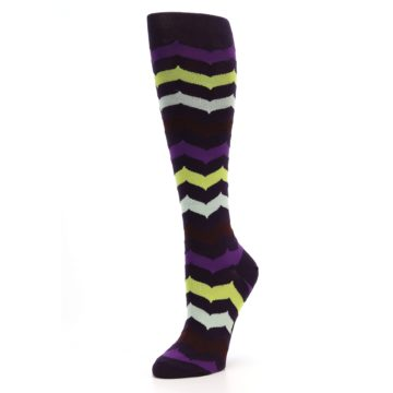 Image of Purples Chevron Women's Knee High Socks (side-2-09)