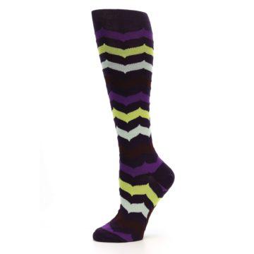 Image of Purples Chevron Women's Knee High Socks (side-2-11)