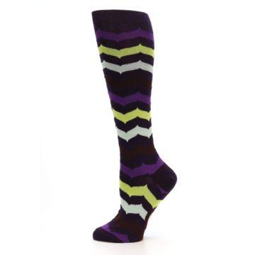 Image of Purples Chevron Women's Knee High Socks (side-2-12)