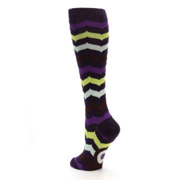 Image of Purples Chevron Women's Knee High Socks (side-2-back-15)