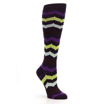 Image of Purples Chevron Women's Knee High Socks (side-1-27)