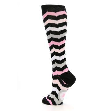 Image of Black Pink Chevron Women's Knee High Socks (side-2-back-14)