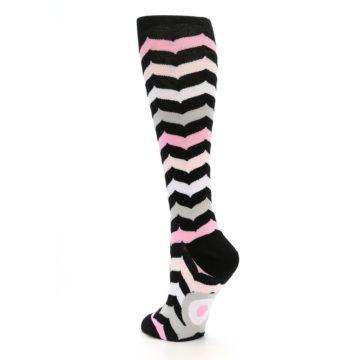 Image of Black Pink Chevron Women's Knee High Socks (side-2-back-15)