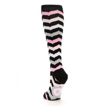 Image of Black Pink Chevron Women's Knee High Socks (side-2-back-16)