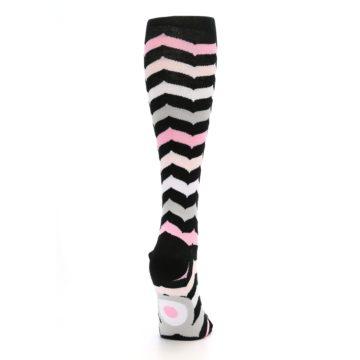 Image of Black Pink Chevron Women's Knee High Socks (side-1-back-20)