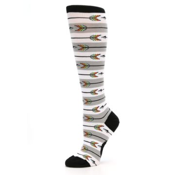 Image of Grey White Arrow Stripe Women's Knee High Socks (side-2-10)