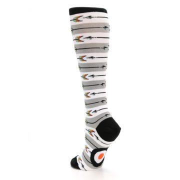 Image of Grey White Arrow Stripe Women's Knee High Socks (side-2-back-15)
