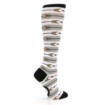Image of Grey White Arrow Stripe Women's Knee High Socks (side-1-24)