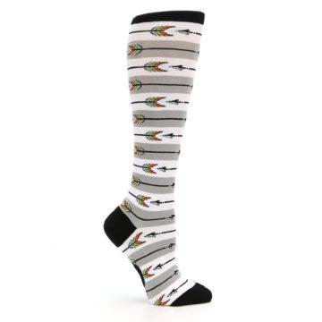Image of Grey White Arrow Stripe Women's Knee High Socks (side-1-25)