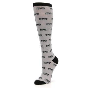 Image of Grey Black Wayfair Glasses Women's Knee High Socks (side-2-09)