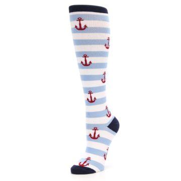 Image of Blue White Red Anchors Women's Knee High Socks (side-2-09)