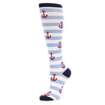 Image of Blue White Red Anchors Women's Knee High Socks (side-2-10)