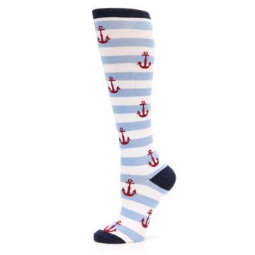 Image of Blue White Red Anchors Women's Knee High Socks (side-2-11)