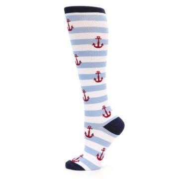 Image of Blue White Red Anchors Women's Knee High Socks (side-2-12)