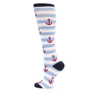 Image of Blue White Red Anchors Women's Knee High Socks (side-2-13)