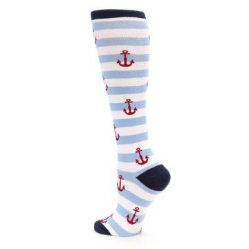 Image of Blue White Red Anchors Women's Knee High Socks (side-2-back-14)