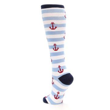 Image of Blue White Red Anchors Women's Knee High Socks (side-2-back-15)