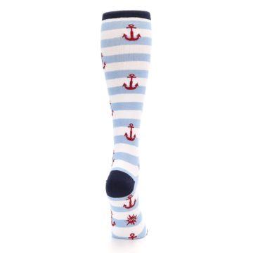 Image of Blue White Red Anchors Women's Knee High Socks (side-1-back-20)