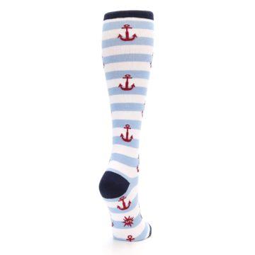 Image of Blue White Red Anchors Women's Knee High Socks (side-1-back-21)