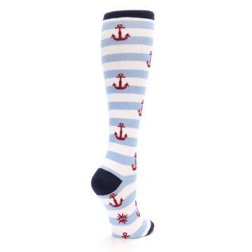 Image of Blue White Red Anchors Women's Knee High Socks (side-1-back-22)