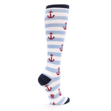 Image of Blue White Red Anchors Women's Knee High Socks (side-1-23)