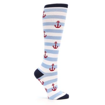 Image of Blue White Red Anchors Women's Knee High Socks (side-1-25)