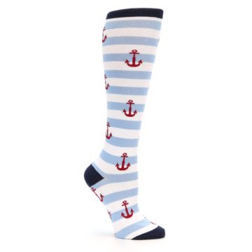 Image of Blue White Red Anchors Women's Knee High Socks (side-1-26)