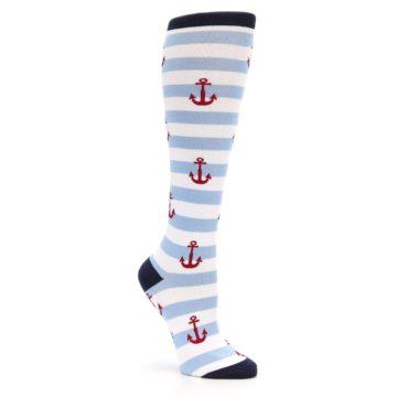 Image of Blue White Red Anchors Women's Knee High Socks (side-1-27)