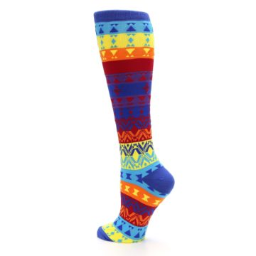Image of Multi-Color Kaleidoscope Women's Knee High Socks (side-2-back-14)