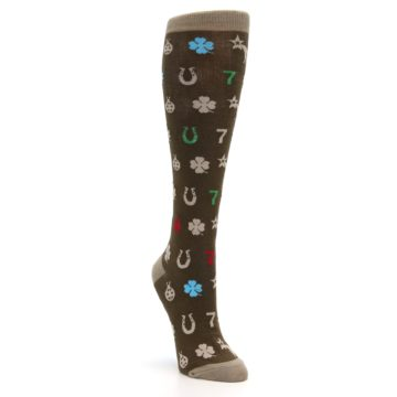 Image of Brown Good Luck Charm Women's Knee High Socks (side-1-front-02)