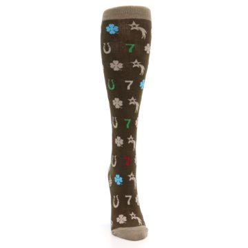 Image of Brown Good Luck Charm Women's Knee High Socks (front-04)