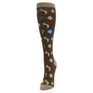 Image of Brown Good Luck Charm Women's Knee High Socks (side-2-front-07)
