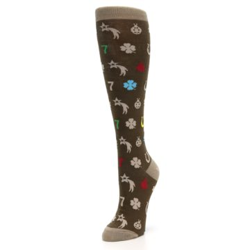 Image of Brown Good Luck Charm Women's Knee High Socks (side-2-front-08)