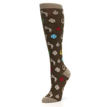 Image of Brown Good Luck Charm Women's Knee High Socks (side-2-09)