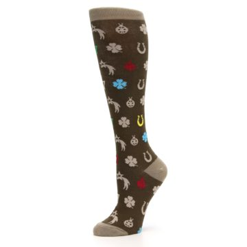 Image of Brown Good Luck Charm Women's Knee High Socks (side-2-10)
