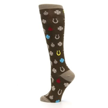 Image of Brown Good Luck Charm Women's Knee High Socks (side-2-13)
